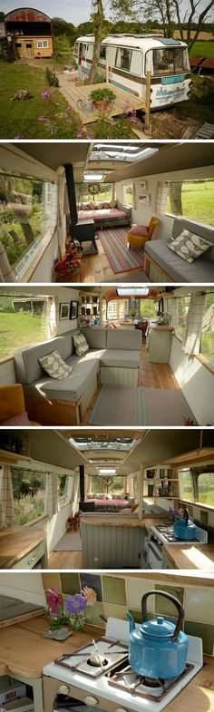 The Majestic Bus. A remodelled bus transformed into a cozy place to stay. The Majestic Bus. A remodelled bus transformed into a cozy place to stay. Casas Containers, Bus House, Little Houses, Tiny Houses, Remodeled Campers, Tiny Spaces, Tiny House Living, Cottage Living, Cozy Place