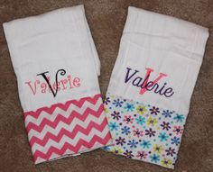 Set of 2 Personalized Burp ClothsBaby Girl by SweetSouthStitches, $20.00