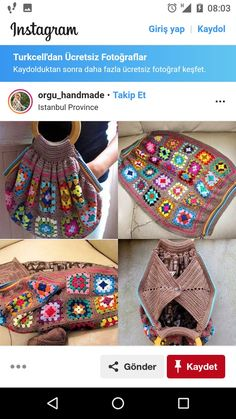 Crochet and knit cute bag and pouch Crochet Handbags, Crochet Purses, Crochet Yarn, Crochet Stitches, Crochet Patterns, Granny Square Bag, Diy Bags Purses, Knitting Accessories, Knitted Bags