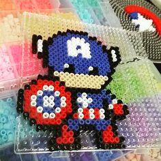 Captain America perler beads by trendmark_brunei