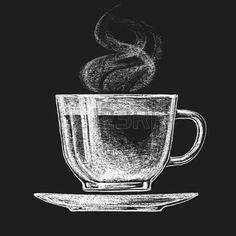 kreidetafel: Vector Tasse Tee auf Tafel. Eps10. Transparenz verwendet. RGB. Globale Farben. Gradienten kostenlos