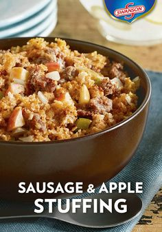With so many stuffing recipes in your collection, how will you decide which one to make this Thanksgiving holiday? This Sausage & Apple Stuffing side dish makes your decision an easy one. Filled with flavor from the Swanson chicken broth, pork sausage, and chopped apples, this tasty version takes just 25 minutes to go from stovetop to dinner table.