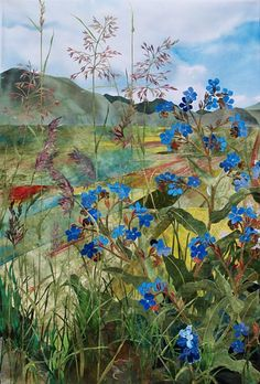 detail of Alkanet and Grasses, Piano Grande by Amanda Richardson - click to return