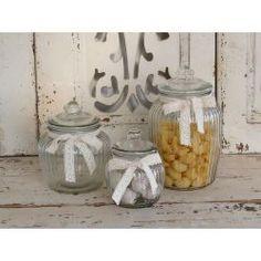 Chic Antique Preserving Jar - With Lace - H 18 cm