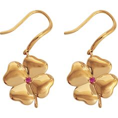 Aurelie Bidermann Fine Jewellery - 18K Gold Clover Earrings With Ruby... ($1,650) ❤ liked on Polyvore featuring jewelry, earrings, gold, clover earrings, gold earrings, gold stone jewelry, 18k yellow gold earrings and four leaf clover earrings