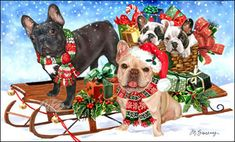 "French Bulldog Christmas cards are 8 1/2"" x 5 1/2"" and come in packages of 12 cards. One design per package. All designs include envelopes, your personal message, and choice of greeting.Select the greeting of your choice from the drop-down menu above.Add your personal message to the Comments box during checkout."