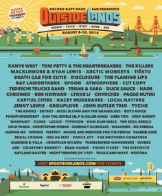 Outside Lands 2014 Lineup #festivalfashion #outsidelands Find festival friendly bags at www.maryfrances.com