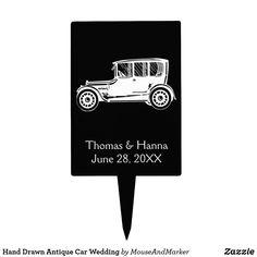 Hand Drawn Antique Car Wedding Cake Topper Car Cake Toppers, Wedding Cupcake Toppers, Wedding Cupcakes, Car Wedding, Hand Drawn, Antique Cars, Cake Decorating, How To Draw Hands, Wedding Decorations
