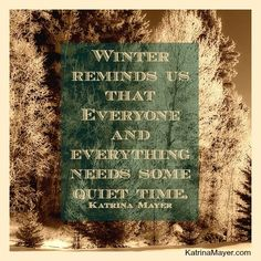 """Winter reminds is that everyone and everything needs some quiet time."" -Katrina Mayer"