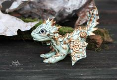 Moon baby dragon figurine - sculpture - ice - spirit dragon - fantasy - night dragon - ooak - polymer clay - viserion - magic forest animal by GloriosaArt