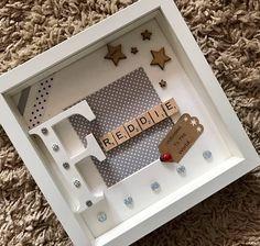 Personalised name photo frame Scrabble Tile Crafts, Scrabble Frame, Scrabble Art, Baby Photo Frames, Baby Frame, Box Frame Art, Shadow Box Frames, Personalized Photo Frames, Diy Bebe