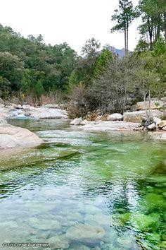 La rivière passe au milieu de la forêt territoriale de l'Ospédale et juste au sud du hameau de Conca et du massif d'Albarellu, dans le parc naturel régional de Corse.