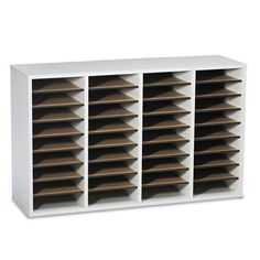 Safco Products Wood Adjustable Literature Organizer, 36 Compartment, Gray, Keep it versatile! Cabinetry is formed from compressed wood with laminate Home Office Organization, Organizing Your Home, Organization Ideas, Literature Organizer, Kindergarten Classroom Decor, Classroom Ideas, Mail Sorter, Office Furniture Stores, File Organiser