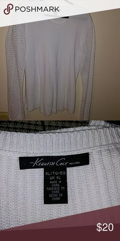 Kenneth Cole sweater Gorgeous white sweater by Kenneth Cole. Worn once very hot here in Texas. Kenneth Cole Sweaters Crew & Scoop Necks