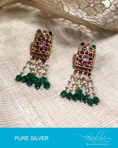 Get grandeur look in this Gold & Multi pure silver pearl hanging earrings designed with cream and green stones Pearl Necklace Designs, Pearl Stud Earrings, Pearl Studs, Sterling Silver Earrings Studs, Women's Earrings, Hanging Earrings, Silver Earrings Online, Gold Jewelry, Swarovski Jewelry
