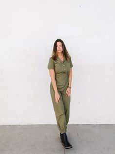Take on the world in the olive boiler suit! with short rolled sleeves collared neckline and button-down closure two pockets on the chest and an elasticated waist for a figure defining silhouette this linen jumpsuit is a whole put together outfit in one!    brand: lumiere    color: olive    fabric: 70% cotton 30% linen    care: hand wash cold dry flat    fit: true to size Boiler Suit, Long Jumpsuits, Clothes Crafts, Paige Denim, New Wardrobe, Cotton Shorts, My Outfit, Military Jacket, Khaki Pants