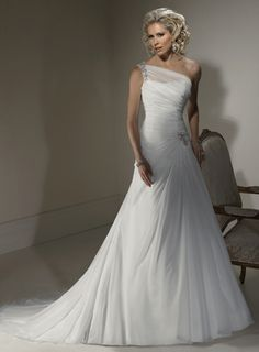 FashionableOneShoulderDroppedwaistChiffonweddingdress