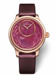The dial on Jaquet Droz' Minerals collection Petite Heure Minute watch is a slice of ruby known as a ruby heart, a mineral tinted by chrome that ranges from pale pink to hot red. Army Watches, Fine Watches, Cool Watches, Watches For Men, Wrist Watches, Stylish Watches, Luxury Watches, Swatch, Or Rouge