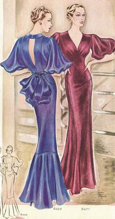 Evening gowns-McCalls Magazine 1935 #30sfashion #oldhollywoodglamour #30seveninggowns