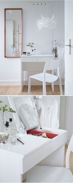 For easy morning routines, BRIMNES dressing table removes all visible clutter by featuring a clever built-in mirror with hidden storage that helps you organize your jewelry and make-up. Put this in the closet? Brimnes Dressing Table, Dressing Tables, Small White Dressing Table, Simple Dressing Table, Dressing Room, Built In Dressing Table, My New Room, My Room, Ikea Organization