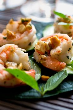 NYT Cooking: This quick shrimp salad is garnished with roasted peanuts for crunch. You can serve it on crisp lettuce leaves for an impressive presentation, but cucumber rounds also make a fine conduit.