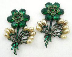 Eisenberg Original Flowers Dress Ornaments Pair - Garden Party Collection Vintage Jewelry