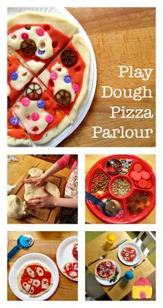 A play dough pizza parlor can be just as fun as a real pizza bar. Clever idea for a pizza party or playdate.