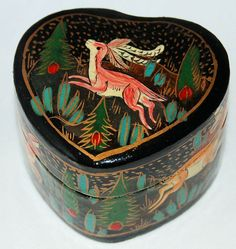 Items similar to Kashmir India Trinket Box Lacquered Paper Mache' Heart Shaped Hand Painted Deer, Antelope & Rabbits Pine Forest on Etsy Heart Shaped Hands, Kashmir India, Paper Mache Boxes, Pine Forest, Beautiful Gifts, Trinket Boxes, Heart Shapes, Hand Painted, Indian