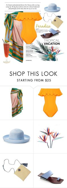 """""""Welcome to Paradise"""" by conch-lady ❤ liked on Polyvore featuring Diane Von Furstenberg, Lisa Marie Fernandez, TIKI, Betmar, Abcense, TropicalVacation and WelcomeToParadise"""