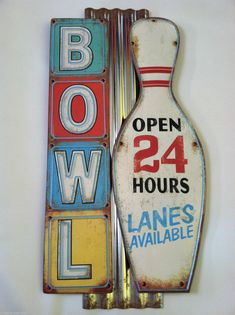 Vintage Style Retro Bowling Alley Sign Wall Rustic Not Neon Big 50's Light Gas