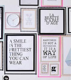 Decorar las paredes con washitape, láminas con mensajes, fotografías, dibujos... http://decoratualma.blogspot.com.es/2013/09/dejate-enamorar-por-bloomingville.html