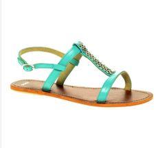 Asos Franki Flat Leather Sandals With Metal Trim- asos.com