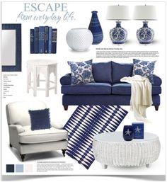 Navy Blue And White Living Room Decor Coastal Living Rooms, New Living Room, Living Room Decor Blue, Blue Living Room Furniture, Navy Living Rooms, Bedroom Furniture, Blue And White Living Room, Blue Rooms, White Decor