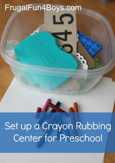 Set up a crayon rubbing center for preschoolers - a great way to entertain a preschooler and spark creativity! Preschool Writing, Preschool Centers, Preschool Science, Preschool Learning, Learning Activities, Preschool Classroom, Kindergarten Art, Craft Activities For Kids, Preschool Activities