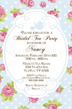 "Bridal Shower ""Tea Party"" Invitations. English ROSE Tea Party invitation card / customize/ printable"
