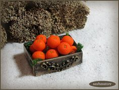 Box with oranges dollhouse food miniature oranges by sashasstore