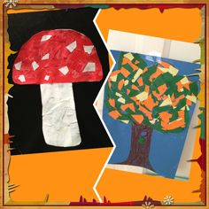 Autumn, mosaic with paper. Made with my toddler Julian. Very easy and nice to do.