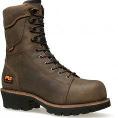 089656214 Timberland PRO Men's Rip Saw WP Logger Boots - Brown www.bootbay.com