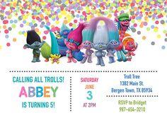 Trol de la fiesta de cumpleaños / Trolls invitación / Trolls