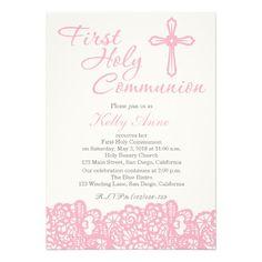 Girls Communion Invitations Pink First Communion Cross Invitations