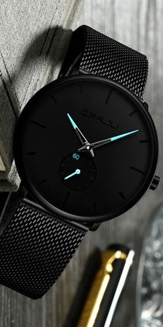 Minimalist watch with blue detail is simply understated elegance. With a case & a stainless steel strap, this watch pairs with almost any outfit. Trendy Watches, Best Watches For Men, Luxury Watches For Men, Cool Watches, Wrist Watches, Watch For Men, Men's Watches, Watches For Men Affordable, Black Watches