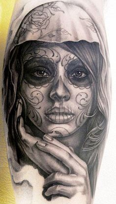 Realism Muerte Tattoo by Eric Marcinizyn - http://worldtattoosgallery.com/realism-muerte-tattoo-by-eric-marcinizyn-2/