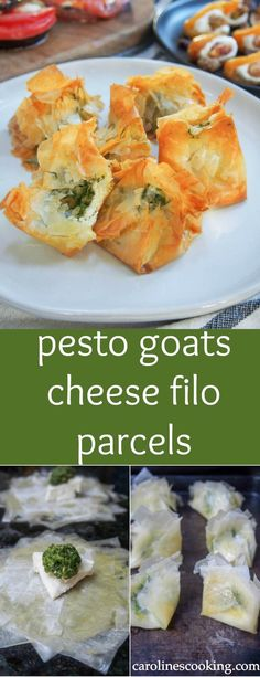 These pesto goats cheese filo parcels are a delicious little bite of goodness. Crisp, flaky pastry, smooth creamy goats cheese and the fabulous flavors of pesto. They're perfect for entertaining too. #filopastry #appetizer #entertaining #SundaySupper
