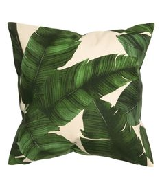 Print motif cushion cover - Natural white/Leaf - Home All Cushion Covers, Throw Pillow Covers, Throw Pillows, Deco Originale, Palm Tree Print, Printed Cushions, White Leaf, Spring Home, Leaf Prints