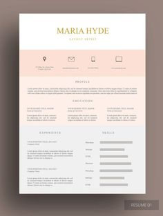 ZIMAPHOLD #RESUME This pink beige #resume #template oozes…