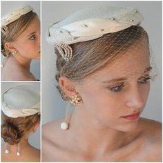 vintage 40's ivory silver bridal cap