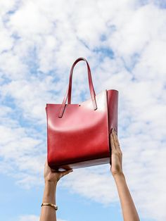 Aurora Red Pozo  Red Leather Tote Bag