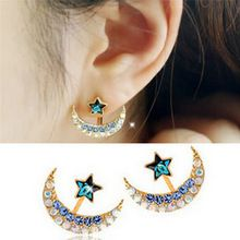 MengPa Star Fashion Jewelry Rhinestone Front Back Ear Jackets Stud Earrings for Women 3R1XZPvP5