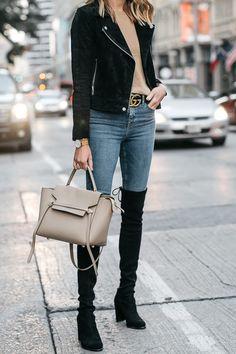 5d70db901ccb0 Black Suede Moto Jacket Camel Sweater Denim Skinny Jeans Stuart Weitzman  Over-the-Knee boots Celine Mini Belt Bag Gucci Marmont Belt Fashion Jackson  Dallas ...
