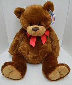 "Mary Meyer Teddy Bear Plush Brown Red Bow Stuffed Animal Big 26"" NEW #MaryMeyer"